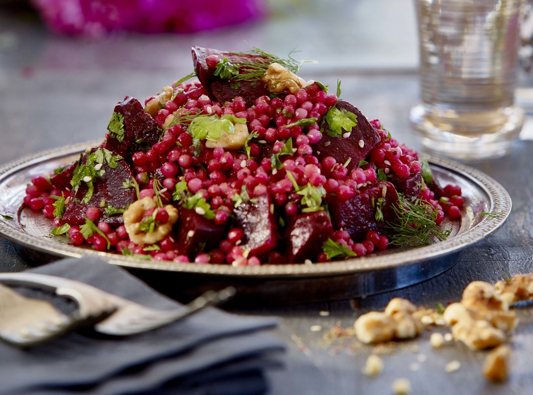 Beetroot, cous cous, herbs and walnut salad